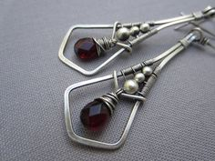 Garnet+Drops+Wire+Wrapped+in+Sterling+Silver/+Free+par+mese9,+$32.00
