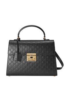 Gucci Padlock Medium Guccissima Top-Handle Satchel Bag, Black, Women's