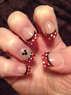 Disney nails.. Red tip w/ white polka dot.