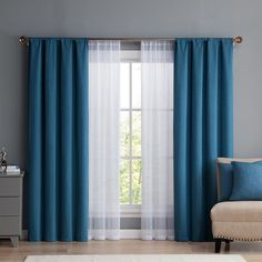 Vcny Diana Window Curtain & Throw Pillow Set, Blue Source by heleneneufeld Curtains Living Room Decor Curtains, Home Curtains, Modern Curtains, Curtains Dunelm, Curtains With Sheers, Bedroom Window Curtains, Curtain Ideas For Living Room, Ikat Curtains, Neutral Curtains