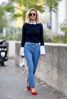 10 Spring Work Outfit Ideas to Copy ASAP | button-up styled with a crewneck sweater, and red low-heeled loafers