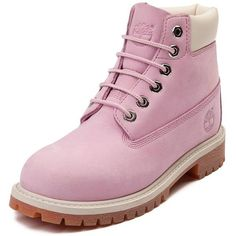 """Tween Timberland 6"""" Classic Boot (£79) ❤ liked on Polyvore featuring shoes, boots, ankle booties, rugged boots, real leather boots, waterproof boots, pink leather boots and timberland booties"""