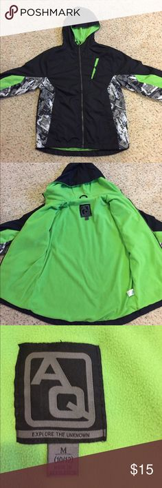 Boys black spring jacket with fleece lining 10/12 AG Explore the Unknown. Warm spring hooded jacket  for your favorite boy.  Green fleece lining is very soft.  EUC.  Worn maybe twice.  NO TRADES BUT OPEN TO OFFERS. Jackets & Coats