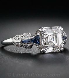 1.75 Carat Asscher-Cut Diamond Art Deco Ring. A glorious and glistening classic…