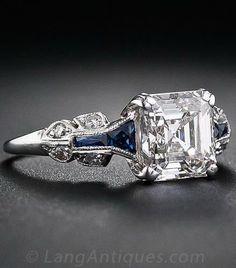 1.75 Carat Asscher-Cut Diamond Art Deco Ring. A glorious and glistening classic…