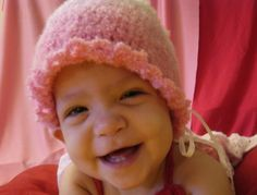 ~PAPER DOLL EVE: A GIRL DREAMS~: Pink Baby Girl Crochet Hat    #baby #smile #hat #crochet #pink #handmade #gift