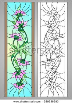 Similar Images, Stock Photos & Vectors of Vector illustration with flowers: lotus, water lily, magnolia in Stained glass window. Stained Glass Quilt, Stained Glass Flowers, Faux Stained Glass, Stained Glass Designs, Stained Glass Panels, Stained Glass Projects, Stained Glass Patterns, Glass Painting Patterns, Glass Painting Designs