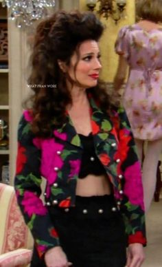 What Fran Wore: Moschino Floral Jacket 90s Fashion, Retro Fashion, Fran Fine Outfits, Nanny Outfit, Tv Show Outfits, Fran Drescher, Solange Knowles, Floral Jacket, Celebs
