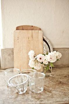 kitchen decor #roses #cuttingboards #brocante