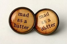 Mad As A Hatter Earrings Antique Bronze STUDS Alice In Wonderland Jewellery Gift