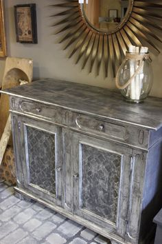 Beautiful piece by Amy Chalmers of Maison Decor using Artisan Enhancements Leaf and Foil Size and silver leaf along with Graphite Chalk Paint sealed with Clear Topcoat Sealer.