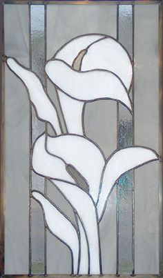 calla lily stained glass window - clear
