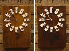 Para medir el tiempo con un clásico de mesa: Relojes dominó #decoración #DIY