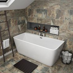 The Orion BTW modern square bath will add a smooth, minimalist touch to contemporary settings. 1700 x Now at Victorian Plumbing. Family Bathroom, Small Bathroom, Bathroom Ideas, Bathroom Designs, College Bathroom, Garage Bathroom, Restroom Ideas, Small Bathtub, Attic Bathroom