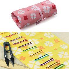 14 Slots Non Woven Crochet Knitting Needle Craft Case Holder Bag