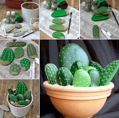 Some stones, gravel, a clay pot, and some paint! Fun and easy for kids and adults! I like projects that have a 100% chance of fantastic results!