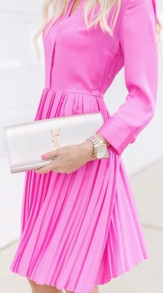 Pink pleated dress