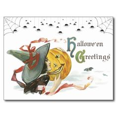 Halloween postcards are a cute way to say hello. Fun new, old fashion, designs to choose from! Victorian Halloween postcards are restored for the best printing quality. Shop with confidence!