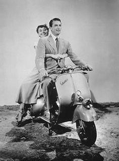 Audrey Hepburn and Gregory Peck with vespa