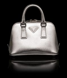 silver prada purse