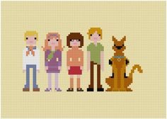 Pixel People Patterns for cross-stitch Scooby Doo! Available at the weelittlestitches shop on Etsy.com
