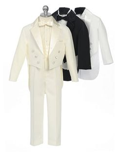 5 piece notch lapel tuxedo with tail, shirt, bowtie and cummerbund.