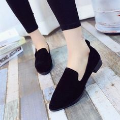 721d4231ceac Women Pointed Toe Suede Pumps Lady Casual Low Heels Shoes