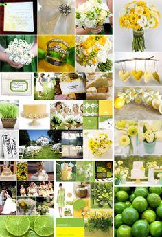 Żółto zielone dekoracje.