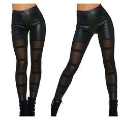Black Sheer Mesh Detail  Leggings Leg-055