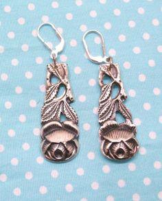 Ohrhänger Ohrringe 1 Paar Besteckschmuck Rose 523 von Atelier Regina auf DaWanda.com