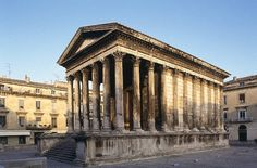 The Maison Carree in Nimes France(also the home of clothe de nimes (Denim)) Is a Roman Temple built approx 16 B.C.