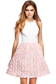 ROMWE | ROMWE 3D Rose Print Sleeveless Dual-tone Dress, The Latest Street Fashion
