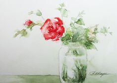 Red Rose Original Watercolor Painting Flowers