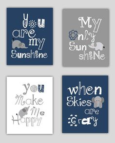 SALE Elephant Art, You are my sunshine Navy Blue and Gray Art Prints, 4-8x10 prints, Matches Boy or Girl Nursery, nursery, or playroom on Etsy, $46.77 CAD