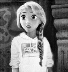 Black and White Modern Rapunzel! Punk Disney, Disney Girls, Disney Style, Disney Love, Disney Frozen, Disney And Dreamworks, Disney Pixar, Walt Disney, Disney Actual