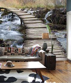 Murales adhesivos - Puente, rio, paisaje, bosque. Decorar paredes, decorar habitaciones, decorar salones - decoraconimaginacion.com