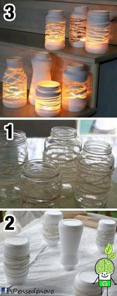 New Ideas For Diy Decoracion Hogar Manualidades Mason Jars, Bottles And Jars, Mason Jar Crafts, Bottle Crafts, Glass Jars, Diys, Diy And Crafts, Crafts For Kids, Creation Deco