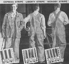 Vintage denim, striped overalls and jacket, vintage denim and work wear