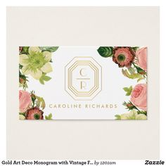 Gold Art Deco Monogram with Vintage Florals Business Card for Designers, Stylists, Salons and more