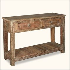 """Rustic Reclaimed Wood Naturally Distressed Hall Console Table - Sierra Concepts - sierralivingconcepts.com - $999 - SKU: 318370420 - %100 handmade - reclaimed wood - 48"""" L X 14"""" D X 30"""" H - 2014"""