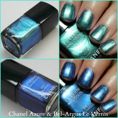 Chanel Le Vernis in Azure and Bel-Argus. This is an iridescent polish that changes with the light