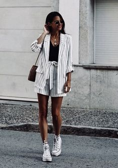 This pinstripe shorts suits and sneakers is an awesome outfit ☀️ Stylish outfit ideas for women who follow fashion from Zefinka.