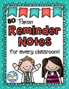 Classroom Reminder Notes:This time-saving pack is a must for every classroom. There are 80 reminder notes to fit every occasion throughout the year. Each page is formatted with six notes for easy printing and cutting. You can just print out the notes and pass them out to your students for quick reminders from Back to School Night to Field Day to IEP meetings.