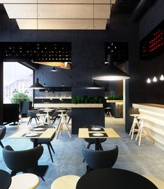 Modern Cafe Interior Might Make The Ceiling Not Feel So High