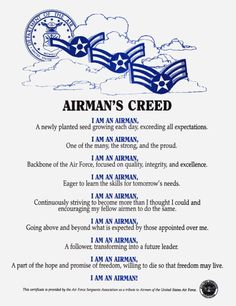 United states air force airmans creed photo this photo was i can still hear this all 600 airmen saying it together chills altavistaventures Images