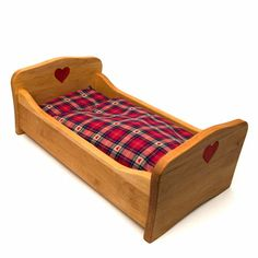 wooden doll beds | Doll's Bed with Heart - The Wooden Wagon