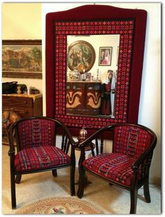 While Palestinian embroidery may have its roots in traditional dresses, it is not limited to that. Take a look at these home furniture and accessories adorned with Palestinian embroidery. Cross Stitch Borders, Cross Stitching, Cross Stitch Embroidery, Hand Embroidery, Embroidery Designs, Palestinian Embroidery, Stitch Patterns, Home Furniture, Sweet Home