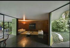 """Vista Interior-Exterior de Área de Sala desde el Comedor, Terrazas Frontal y Posterior, Casa """"Das Canoas"""", Río de Janeiro, B / Arq Oscar Niemeyer."""