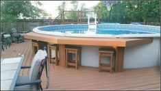 Pool Bar love this! With extra seating added - Pool Bar love this! With extra seating added - Above Ground Pool Landscaping, Above Ground Pool Decks, Small Backyard Pools, Backyard Pool Landscaping, Backyard Patio Designs, In Ground Pools, Landscaping Ideas, Large Backyard, Pergola Ideas