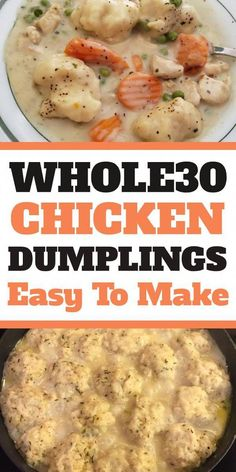 Chicken and Dumplings Recipe is a dish that goes from prep to plate in 30 minutes! A simple one-pot recipe that is packed with chicken, veggies and delicious dumplings, with no canned 'cream of whatever' soup needed. Chicken Dumplings Easy, Dumplings For Soup, Dumpling Recipe, Whole 30 Soup, Whole 30 Diet, Whole 30 Meals, Paleo Recipes, Healthy Dinner Recipes, Fun Recipes